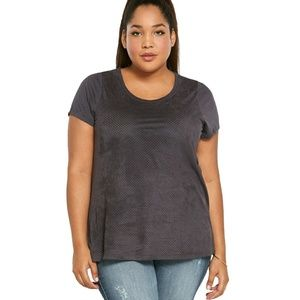 Torrid Perforated Faux Suede Gray Tee NWT